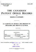 The Canadian Patent Office Record and Register of Copyrights
