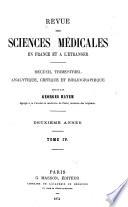 Revue des sciences médicales en France et à l'étranger