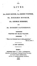 download ebook the lives of dr. john donne, sir henry wotton, mr. richard hooker, mr. george herbert and dr. robert sanderson ... a new edition pdf epub