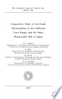 Comparative Study of Low grade Metamorphism in the California Coast Ranges and the Outer Metamorphic Belt of Japan