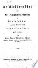 Abschiedspredigt vor der evangelischen Gemeinde zu Dinkelsb  hl am 22  Nov  1807   ber Ezechiel 1 3