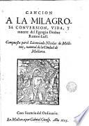 Cancion a la milagrosa conversion  vida y muerte del Egregio Doctor Ramon Lull