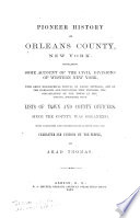Pioneer History Of Orleans County New York