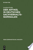 Der Artikel in deutschen Sachverhaltsnominalen