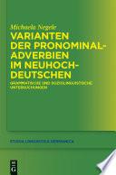 Varianten der Pronominaladverbien im Neuhochdeutschen