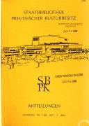 Mitteilungen - Staatsbibliothek Preussischer Kulturbesitz