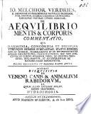 J. M. V. ... de aequilibrio mentis et corporis commentatio, etc