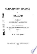 Corporation finance in Holland