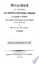Verzeichni   der   ffentlichen von Wallenberg Fenderlinschen Bibliothek