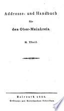 Addresse- und Hand-Buch für den Ober-Main-Kreis