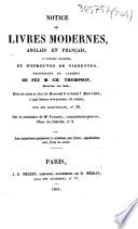 Notice de livres modernes, anglais et français, la plupart illustrés, et d'épreuves de vignettes, provenant du cabinet de feu M. Ch. Thompson, graveur sur bois