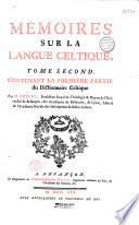 M  moires sur la langue celtique  par M  Bullet