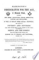 Harrington S Desideratum For The Age A Masonic Work