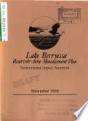 Lake Berryessa Reservoir Area Management Plan Napa County book