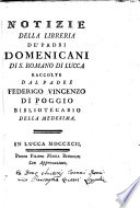 Notizie della libreria de  padri domenicani