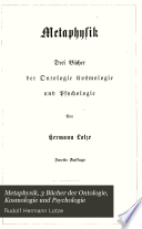 Metaphysik, 3 Bücher der Ontologie, Kosmologie und Psychologie