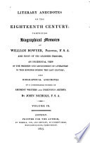 Literary Anecdotes of the Eighteenth Century  Anecdotes