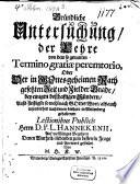 Gründliche Untersuchung der Lehre von dem sogenannten Termino gratiae peremtorio