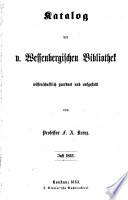 Katalog der v. Wessenbergischen bibliothek