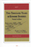 Two Thousand Years of Economic Statistics, Years 1 to 2014