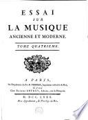 Essai sur la musique ancienne et moderne