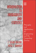 Introduction to Probability and Statistics: Principles and Applications for Engineering and the Computing Sciences