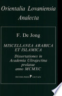 Miscellanea Arabica Et Islamica