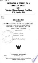 Investigation Of Students For A Democratic Society Hearings