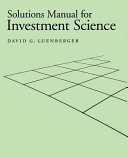 Solutions Manual for Investment Science