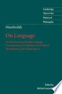 Humboldt On Language