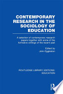 Contemporary Research in the Sociology of Education  RLE Edu L