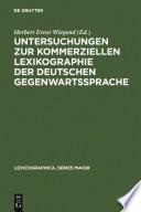 Untersuchungen zur kommerziellen Lexikographie der deutschen Gegenwartssprache