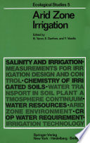 Arid Zone Irrigation Ecological Studies Series Entitled Physical Aspects