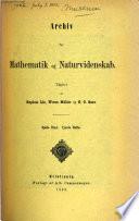 Archiv for Mathematik Og Naturvidenskab