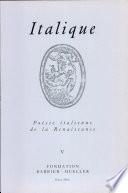 Italique : Poésie italienne de la Renaissance, vol. V (2002)