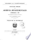Inventaire-sommaire des archives hospitalières antérieures à 1790