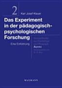 Das Experiment in der pädagogisch-psychologischen Forschung