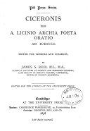 Ciceronis pro A  Licinio Archia poeta oratio  ed  by J S  Reid