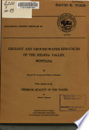 Geology And Ground Water Resources Of The Helena Valley Montana