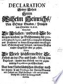 Declaration Seiner Hoh. Hrn. Wilhelm Heinrichs von Oranien warum sie mit den Waffen nach England übergangen