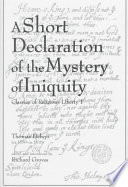 A Short Declaration Of The Mystery Of Iniquity 1611 1612