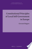 Constitutional Principles of Local Self government in Europe