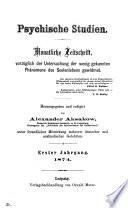 Psychische Studien, herausg. von A. Aksakow