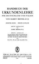 Handbuch der Urkundenlehre f  r Deutschland und Italien