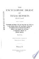 The Encyclopedic Digest of Texas Reports (civil Cases)
