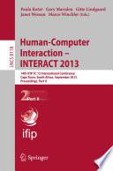 Human Computer Interaction Interact 2013