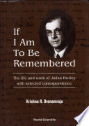 If I Am to be Remembered