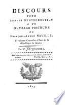 Discours pour servir d'introduction à un ouvrage posthume de François-André Naville