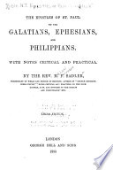 The Epistles Of St Paul To The Galatians Ephesians And Philippians