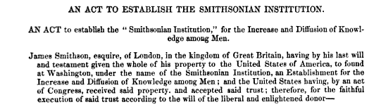 An Act to Establish the Smithsonian Institution.